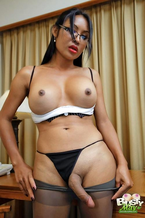 Filthy tgirl secretary may in black frame glasses lusty shemales