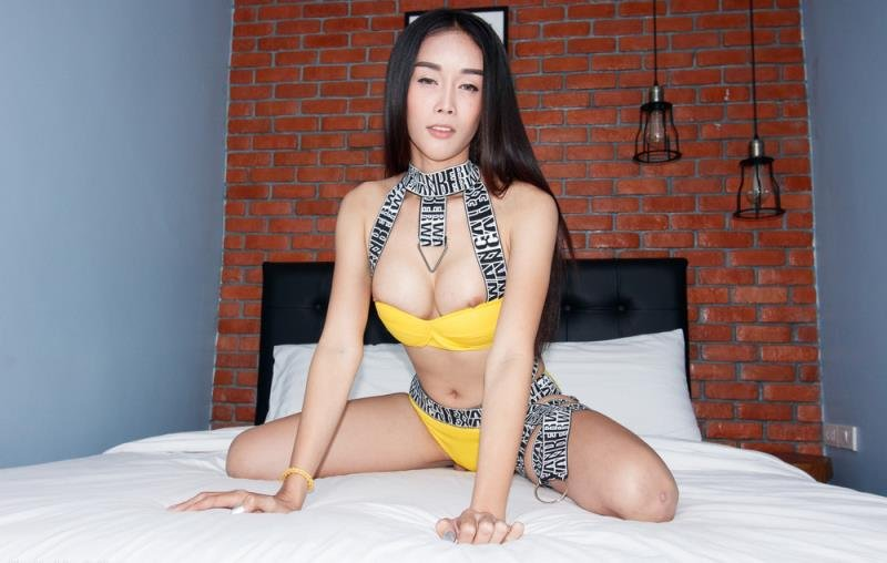 LadyboyGold.com: (Alice 2) - Yellow Booty Shorts Loaded Up [SD] (373.56 Mb)